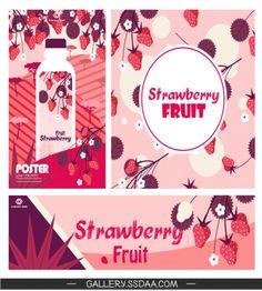 تصميم بنرات اعلانية جميلة فاكهة الفراولة الجميلة ملف مفتوح