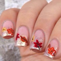 Sparkly Fall Nail Tips Design