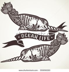 Two Stylized Skeleton Narwhal Stylized Skeleton Stock Vector (Royalty Free) 355050293 Skeleton Tattoos, Skeleton Art, Epic Tattoo, Cat Tattoo, Mini Tattoos, Body Art Tattoos, Thigh Tattoos, Kinds Of Whales, Animales