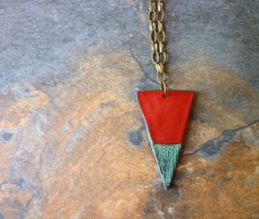 Big Triangle Necklace  Red and Verdigris by thelaplata