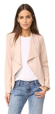 Bb Dakota Siena Soft Leather Jacket by BB Dakota. Draped lapels frame the open placket on this shrunken BB Dakota jacket. Light padding shapes the shoulders, and expos...
