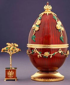 "SOLD: Theo Fabergé's ""Red Rose"" egg. Private Collection, PA."