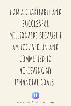 Enjoy this list of the top millionaire mindset affirmations to help you focus on your money goals and achieve them. Visit Selfpause for more affirmations. Wealth Affirmations, Law Of Attraction Affirmations, Positive Affirmations, Positive Quotes, Positive Thoughts, Madea Funny Quotes, Super Funny Quotes, Quotes For Kids, Quotes To Live By