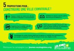 5 propositions des Jeunes Ecologistes pour construire une ville plus conviviale.