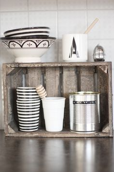 old wooden box as kitchen storage