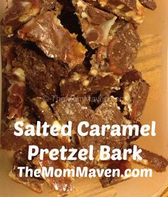 Salted Caramel Pretzel Bark Worth a try with earth's balance butter and enjoy life chocolate chips?