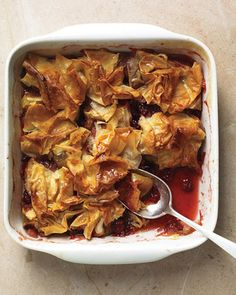 This take on a crumble uses phyllo dough instead of oats. It's delicious with a dollop of yogurt or ice cream.