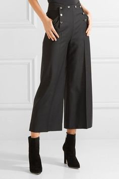 Temperley London - Opus Cropped Button-detailed Twill Wide-leg Pants - Black - UK10