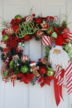 Santa Claus Christmas door wreath