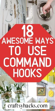 Organize home with command hooks. I'm sharing easy ways to use command hooks to organize and design your home with these cheap items. Clutter Organization, Household Organization, Home Organization Hacks, Declutter Your Home, Organizing Your Home, Organising, Command Hooks, Command Strips, Aurora