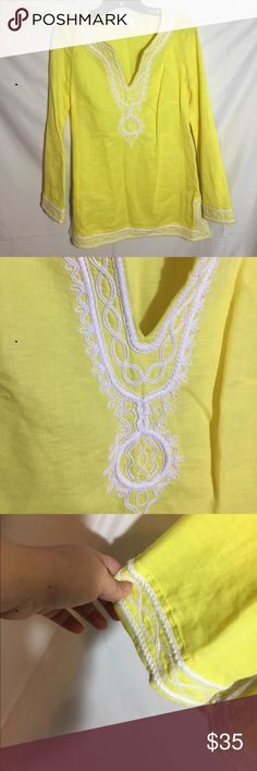 Milly of New York Linen blend tunic Beautiful yellow tunic with side zipper. It's long sleeve and features a bell style sleeve opening. It's extremely beautiful.!!be cruise ready! Or vacation ready!! This is a true show stopper!! In lovely used condition.!! Milly Tops Tunics