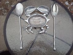 Cast Aluminum Crab Tray W/ Over Sized Spoon And Fork Home Nautical Decor