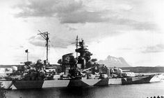 Tirpitz, sister of Bismarck (pictured nearby), September 1943. Based in Norwegian waters for much of the war, she was attacked 34 times by the British in attempts to remove her as a threat to the Arctic convoys, both by midget submarine (a VC winning action) and by carrier borne and heavy bombers. Already badly damaged, RAF Lancasters finished her off at Tromso in November 1944.