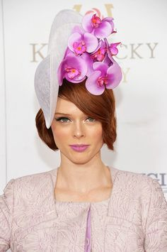 Coco Rocha in a stunning orchid topper at the Kentucky Derby