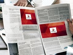 Free Man Reading Multiple Ads Newspaper Mockup by Mockup Planet