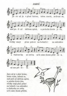 Jarní: Aa School, School Clubs, Kids Songs, Music Notes, Ukulele, Sheet Music, Kindergarten, Spring, Montessori