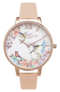 Free shipping and returns on Olivia Burton 'Painterly Prints' Leather Strap Watch, 38mm at Nordstrom.com. Natural vignettes rendered in serene watercolors brighten the dial of a whimsical round watch accented with a highly polished case and a coordinating leather strap.