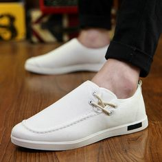 Korean Designer Man Shoes Slip On White Sneakers Casual Scarpe Uomo Fashion Chaussure Homme Blue Grey Size 39 to 44