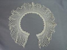 Antique Crochet Wide Collar for Blouse or Dress, 22 inches, Edwardian - Dandelion Vintage