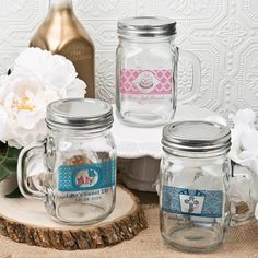 Mason Drinking Jar Personalized Party Favors (FashionCraft 3211CS_Misc) | Buy at Wedding Favors Unlimited (http://www.weddingfavorsunlimited.com/mason_drinking_jar_personalized_party_favors.html).