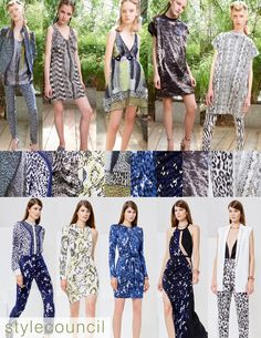 Style Council: Resort 2016 Trend Report - Both of these animal inspired print collections have an edgy optical effect.
