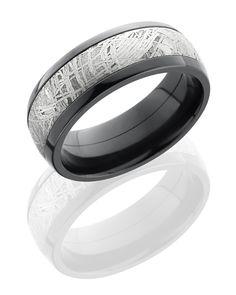Black Zirconium Meteorite Men's Wedding Ring