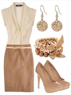 Loving this gold and beige outfit