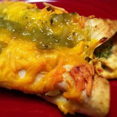 Spicy Cream Cheese and Green Chili Chicken Enchiladas