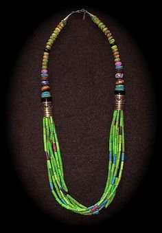 TOMMY SINGER NECKLACE MOJAVE GREEN SUGALITE GOLD ON SILVER DRUM BEADS 29 in.