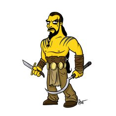 """Khal Drogo   """"Game Of Thrones"""" Characters Drawn As """"The Simpsons""""- Buzzfeed"""
