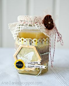 Altered glass jar with honey - Scrapbook.com