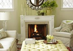 tufted ottoman as a coffee table.