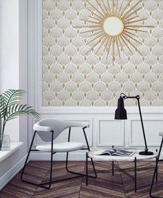 On ose le papier peint style Art déco dans le salon