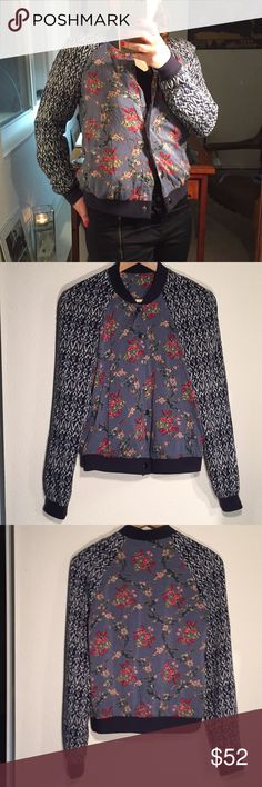 """Free People Floral Rayon Bomber Soft light weight bomber with slight puff shoulder. There is a very small hole in the lining of the left underarm (pictured), and the size tag has been removed.  22.5"""" Collar to hem; 16"""" Shoulder to shoulder; 23.5"""" Sleeve Free People Jackets & Coats"""