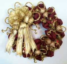 Summer Sale: Burgundy and Gold Deco Paper Mesh Wreath on Etsy, $65.00