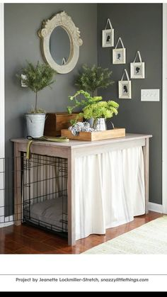 DIY Dog Crate Hack - DIY + Decoration Tutorials from Snazzy Little Things, a . - DIY Dog Crate Hack – DIY + decorating tutorials from Snazzy Little Things, a budget-friendly DIY - Home Improvement Projects, Home Projects, Home Improvements, Garden Projects, Diy Dog Crate, Dog Crate Table, Dog Crate Cover, Wood Dog Crate, Cat Crate