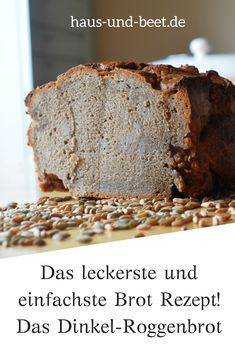 The simple, classic spelled rye bread recipe. A quick bread, perfect for breakfast and barbecue. Your guests will love this healthy bread. It can be a whole wheat bread. Baked as a yeast bread or with Easy Healthy Recipes, Gourmet Recipes, Easy Meals, Rye Bread Recipes, Oatmeal Bread, Lemon Bread, Whole Wheat Bread, Barbacoa, Vegan Snacks