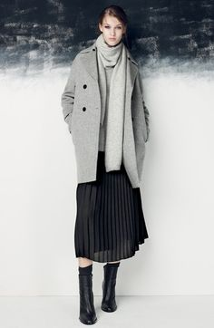 {Sunday} | Gray coat, gray scarf, gray sweater, black pleated midi skirt, black ankle boots.