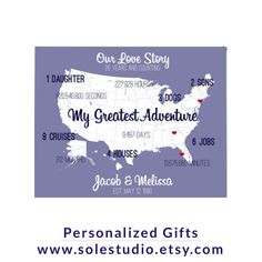 26th Anniversary Gift. Personalized art prints make a great gift or addition to your home. Customize for any year. #solestudio #creativestudio #greatest #adventures #love #aniversary #anniversarygift #personalizedgift #wedding