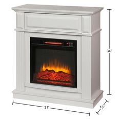 Hampton Bay Parksley 31 in. Freestanding Compact Infrared Electric Fireplace in White-18-751-204-Y - The Home Depot Faux Fireplace Mantels, Fireplace Tv Stand, Small Fireplace, Fireplaces, Small Electric Fireplace, Free Standing Electric Fireplace, Infrared Fireplace, Flat Panel Tv, Relaxation Room
