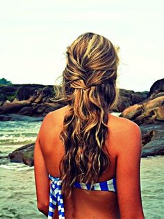This is the perfect fresh-out-of-the-pool/ocean/lake look. Just do two layers of french braid and leave the rest loose!