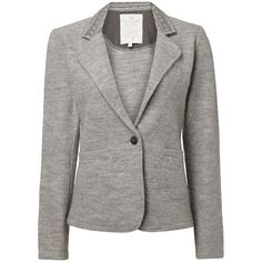 White Stuff Timepiece Wool Blazer, Feather Grey (£70) ❤ liked on Polyvore featuring outerwear, jackets, blazers, slim fit jacket, white jacket, slim blazer, wool blazer and gray blazer