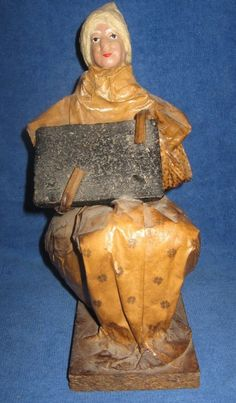 Handmade Mexican Folk Art Paper Mache Village Woman Figurine Sculpture 9""