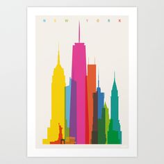 Shapes of NYC in Scale Art Print // by Yoni Alter | Society6
