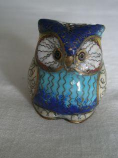 Vintage Cloisonne Owl Figurine