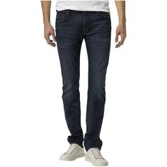 Tommy Hilfiger Blecker Slim Jeans ($155) ❤ liked on Polyvore featuring men's fashion, men's clothing, men's jeans, men jeans, tommy hilfiger mens jeans, mens low rise jeans, mens stone wash jeans, mens slim fit jeans and mens dark jeans