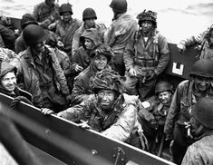 D-Day (2) Allied troops packed tightly into an aquatic landing craft wait for their turn to face the Germans at Normandy.