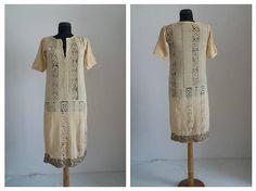 Vintage 1920s dress  20s cream silk dress  1920s silk