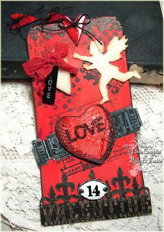 The Funkie Junkie: Oh Yeah, It's Red! Uses Tim Holtz sizzix mini love struck mover and shaper, Love Struck die, Love Struck Stamps, Valentine's background and borders texture fade and more!