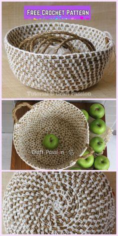 Crochet Hemp Rope Basket Free Pattern Source by nermeenshuqom Crochet Basket Tutorial, Crochet Basket Pattern, Knit Basket, Rope Basket, Crochet Baskets, Hanging Basket, Crochet Patterns, Crochet Scarf Easy, Crochet Bowl